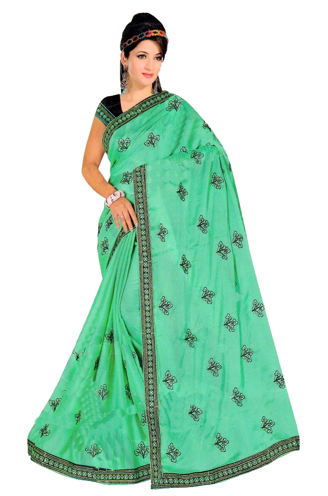 SAREE S-GEORGETTE-DYED EMB