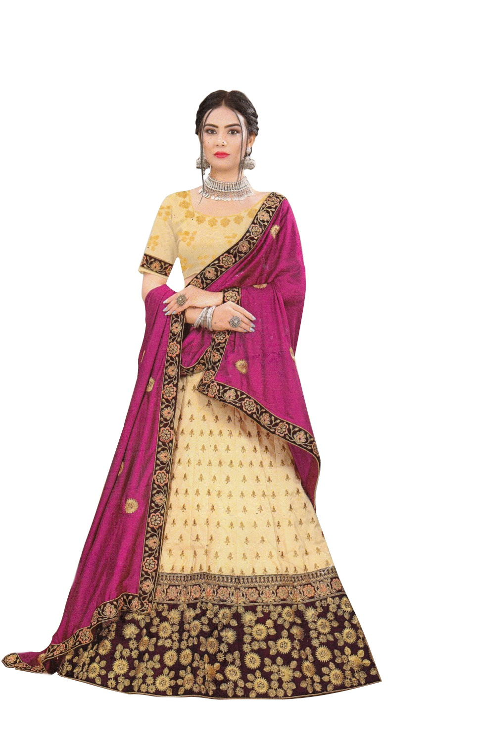 LEHENGAS-SILK-SEMI STICHED