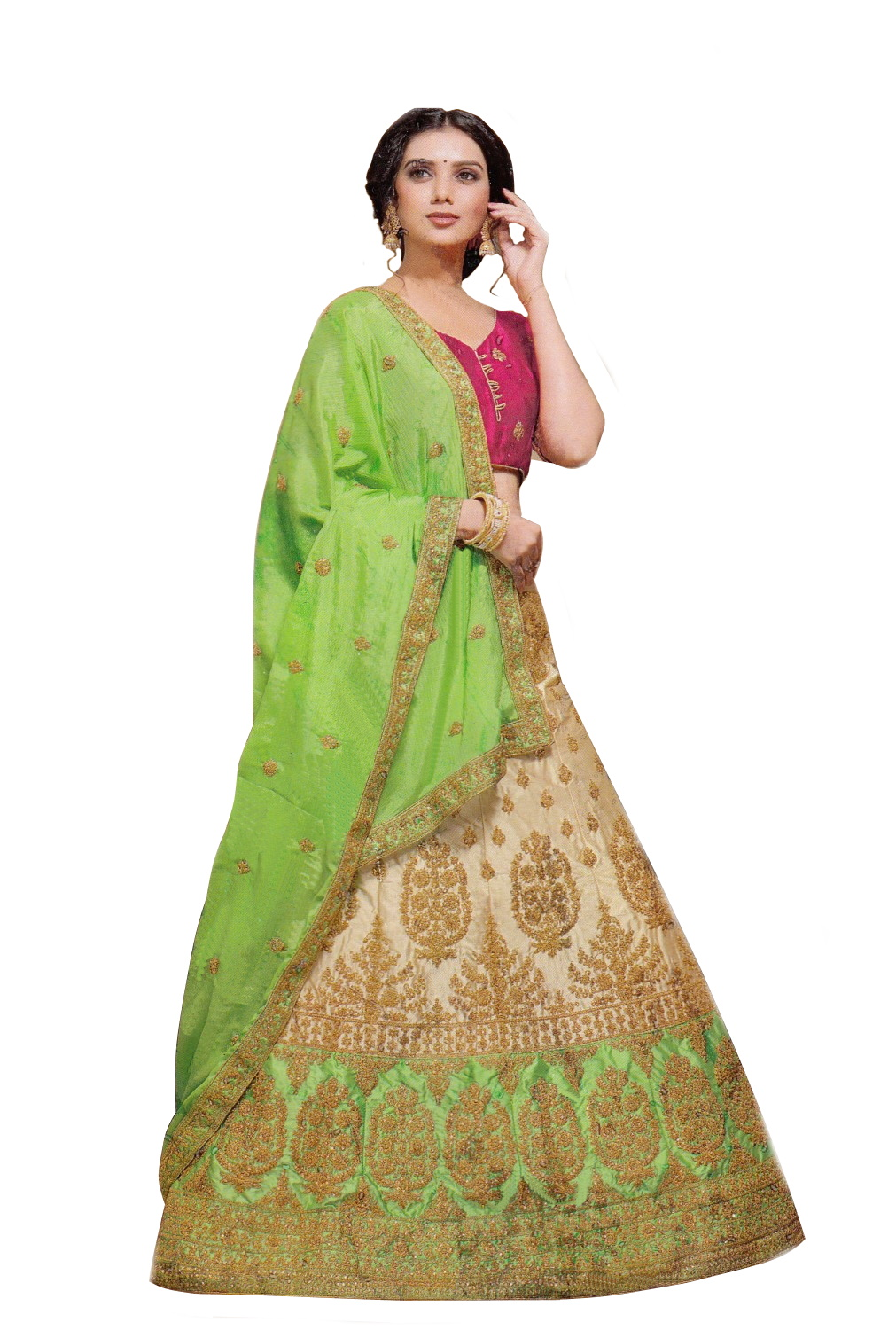 LEHENGAS-SATIN-SEMI-STITCH