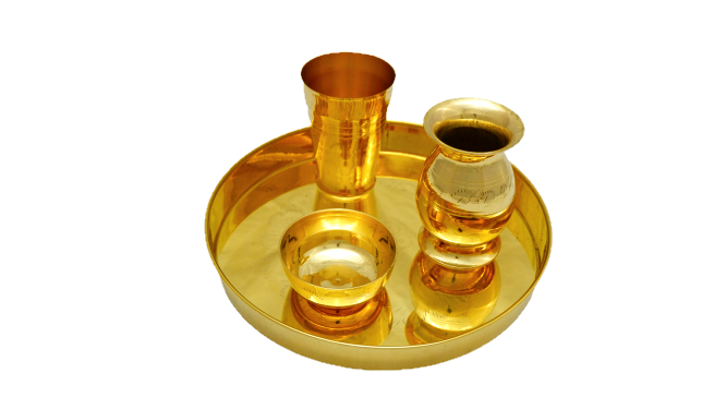 BRASSWARE-POOJA SET-ENGRAVED